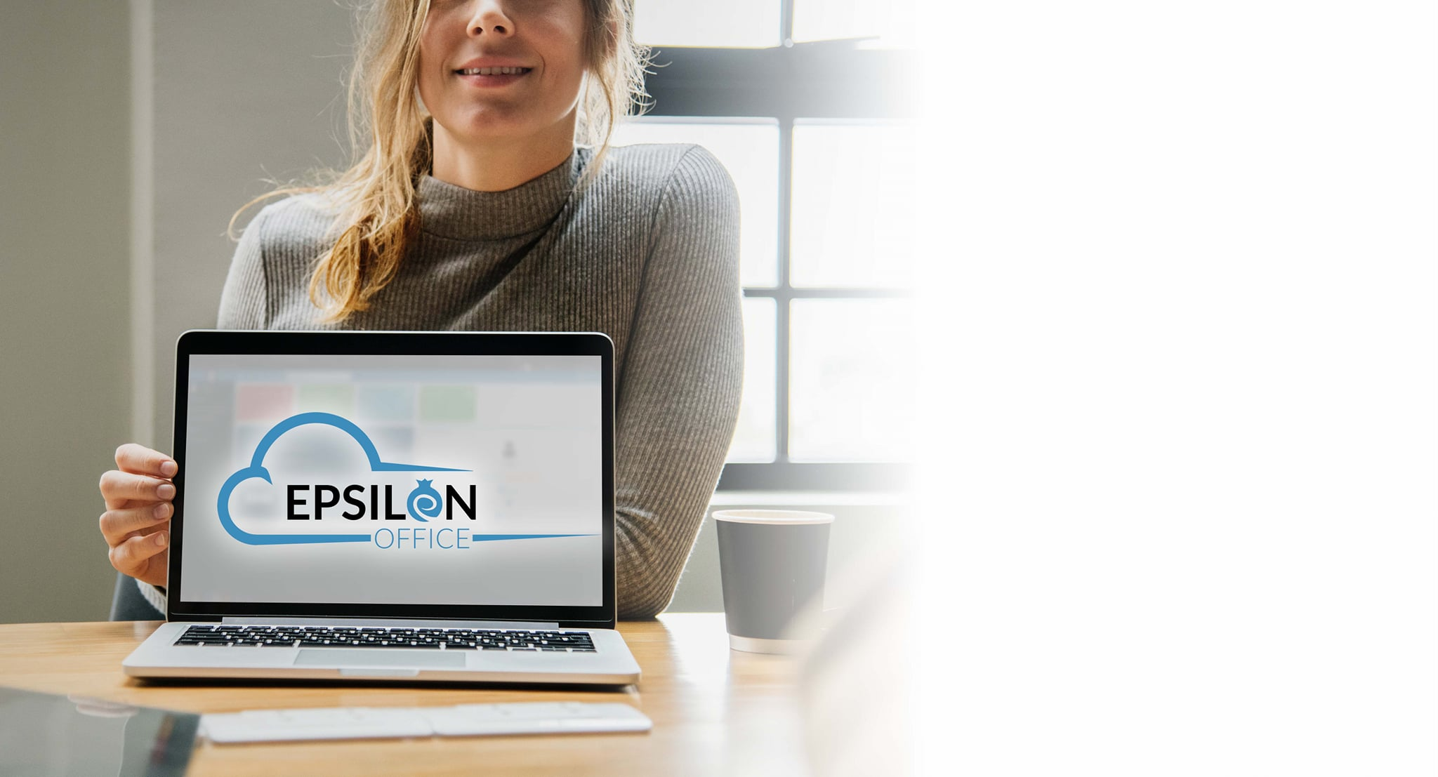 woman showing epsilon office moockup laptop